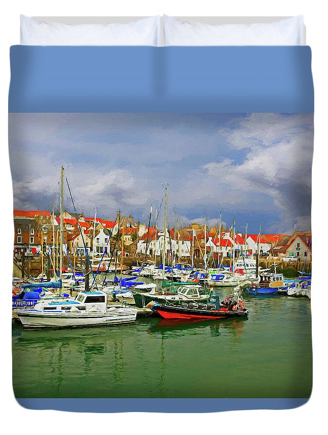Landscape Duvet Cover featuring the photograph Anstruther Harbor by Marcia Colelli