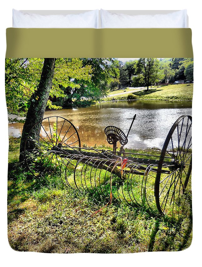 Antique Farm Equipment Duvet Cover featuring the painting Antique Farm Equipment 1 by Jeelan Clark