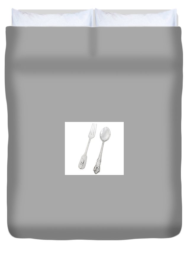Where To Sell Sterling Silver Flatware Duvet Cover featuring the photograph Antique Silver Flatware by Michael De Bondt
