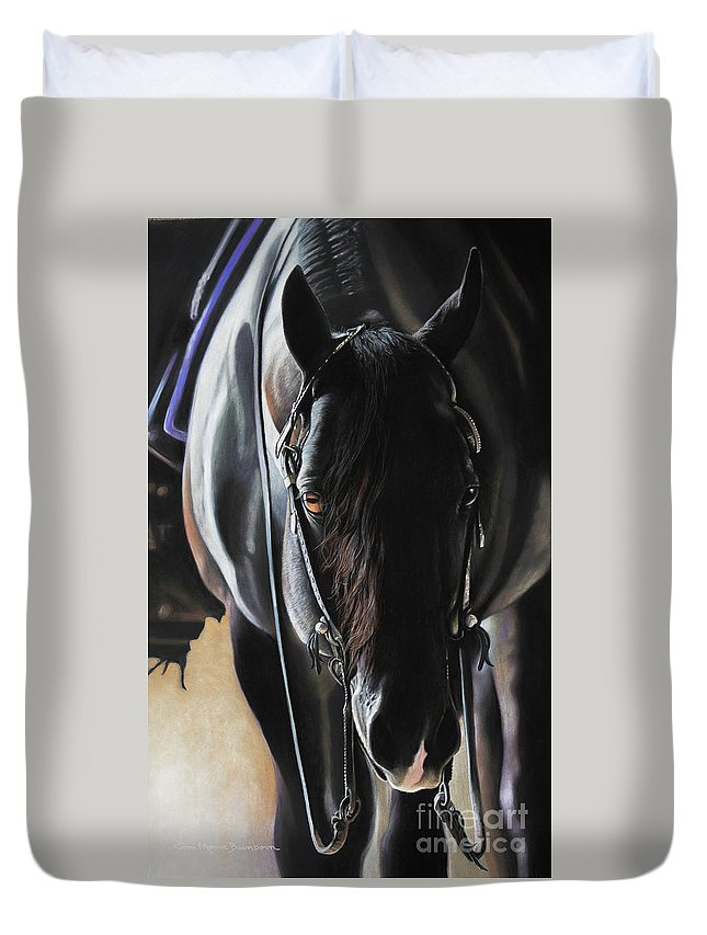 Aqha Duvet Cover featuring the pastel Any Time...Any Place by Joni Beinborn