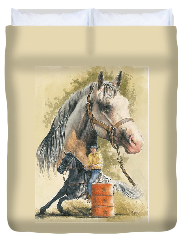 Horse Duvet Cover featuring the mixed media Appaloosa by Barbara Keith