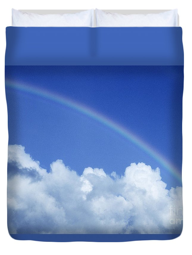 Above Duvet Cover featuring the photograph Arching Rainbow by Carl Shaneff - Printscapes