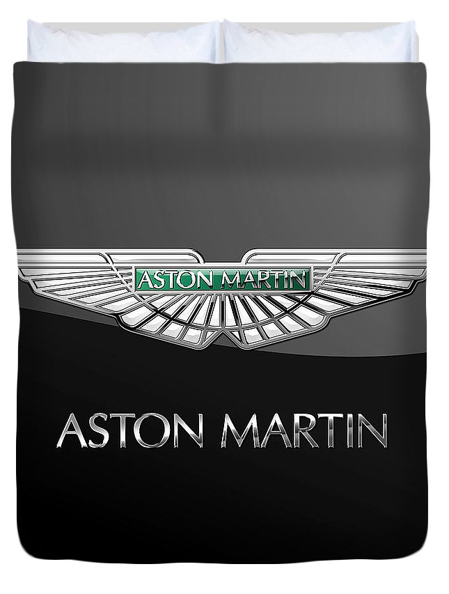 'wheels Of Fortune� Collection By Serge Averbukh Duvet Cover featuring the photograph Aston Martin 3 D Badge on Black by Serge Averbukh