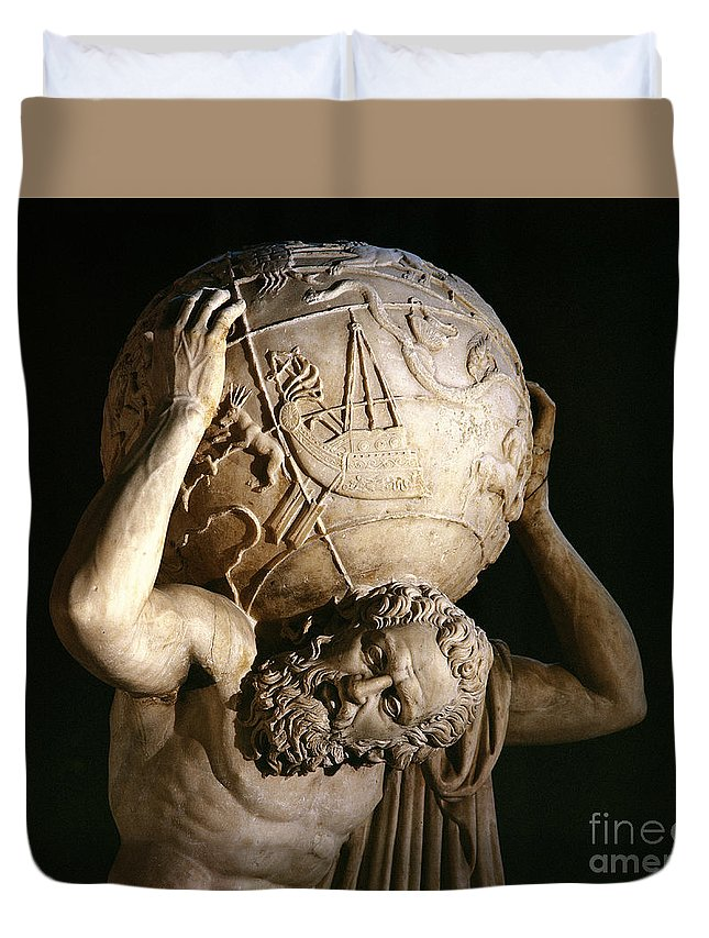 Atlas Duvet Cover featuring the sculpture Atlas by Roman School