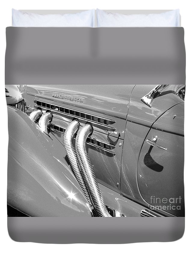 Auburn Duvet Cover featuring the photograph Auburn Boattail Speedster by Neil Zimmerman