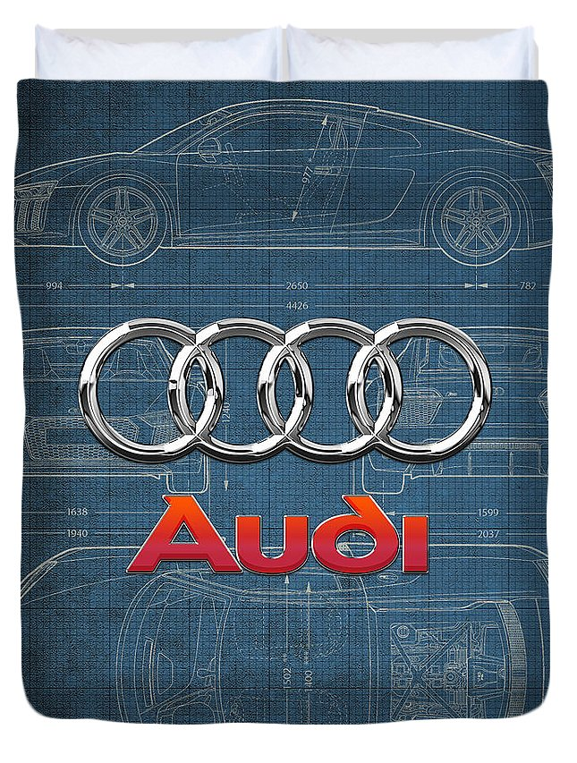 �wheels Of Fortune� Collection By Serge Averbukh Duvet Cover featuring the photograph Audi 3 D Badge Over 2016 Audi R 8 Blueprint by Serge Averbukh