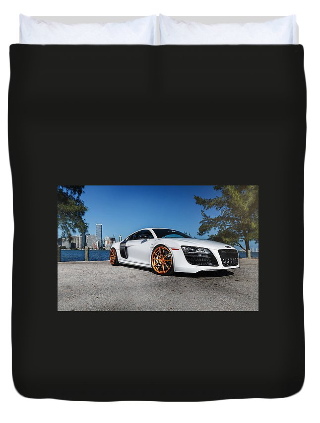 Audi R8 Duvet Cover featuring the digital art Audi R8 by Bert Mailer