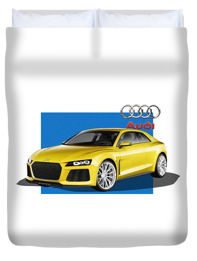 �audi� Collection By Serge Averbukh Duvet Cover featuring the photograph Audi Sport Quattro Concept with 3 D Badge by Serge Averbukh
