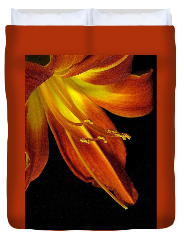 Red Duvet Cover featuring the photograph August Flame Glory by Carolyn Jacob