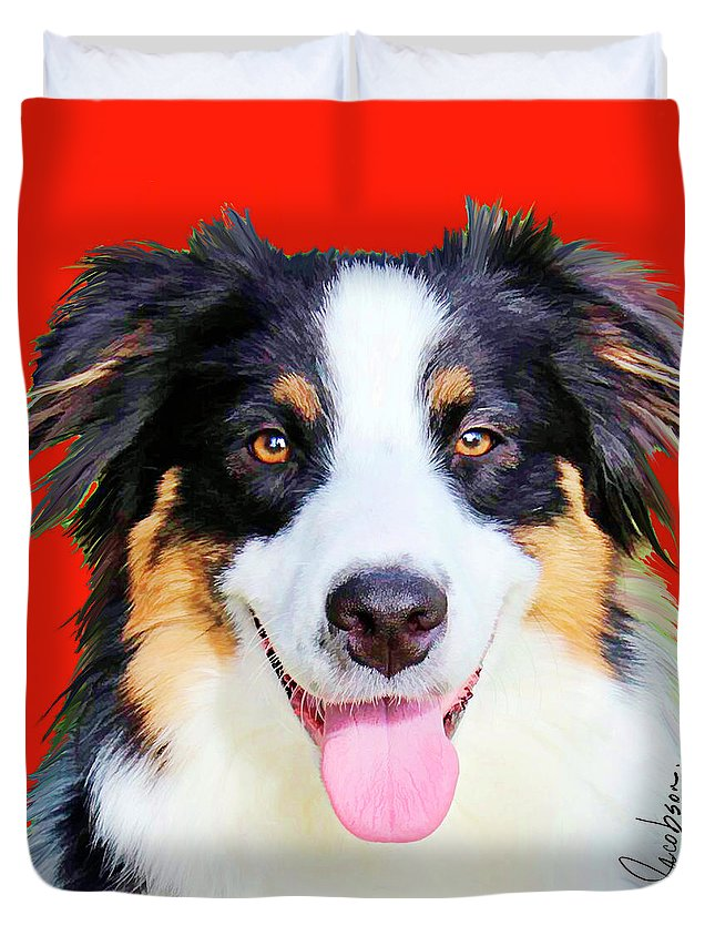 Australian Shepherd Duvet Cover featuring the mixed media Australian Shepherd 4 by Jackie Jacobson