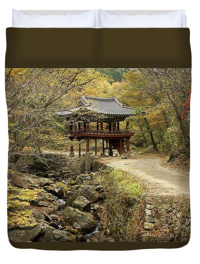 Korea Duvet Cover featuring the photograph Autumn At Seonamsa by Michele Burgess