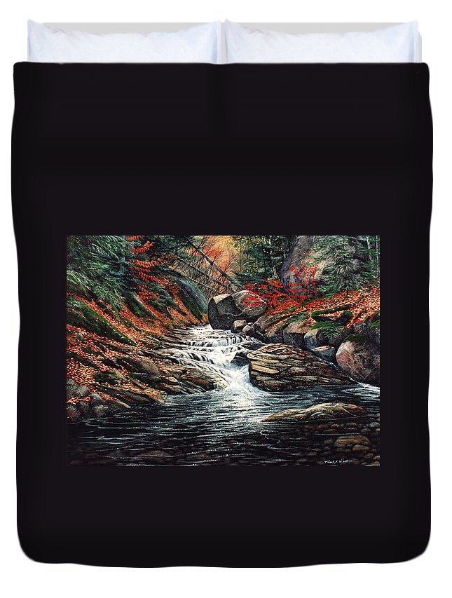 Landscape Duvet Cover featuring the painting Autumn Brook by Frank Wilson