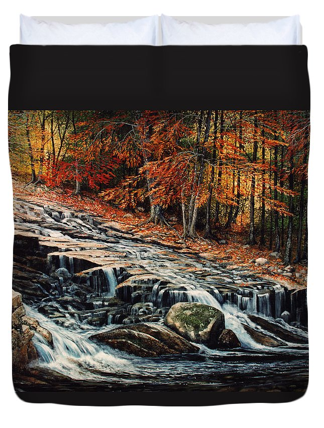 Landscape Duvet Cover featuring the painting Autumn Cascade by Frank Wilson