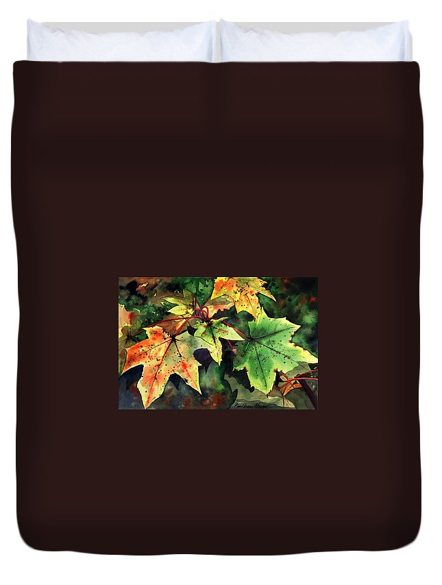 Watercolour Duvet Cover featuring the painting Autumn Leaves by Paul Dene Marlor