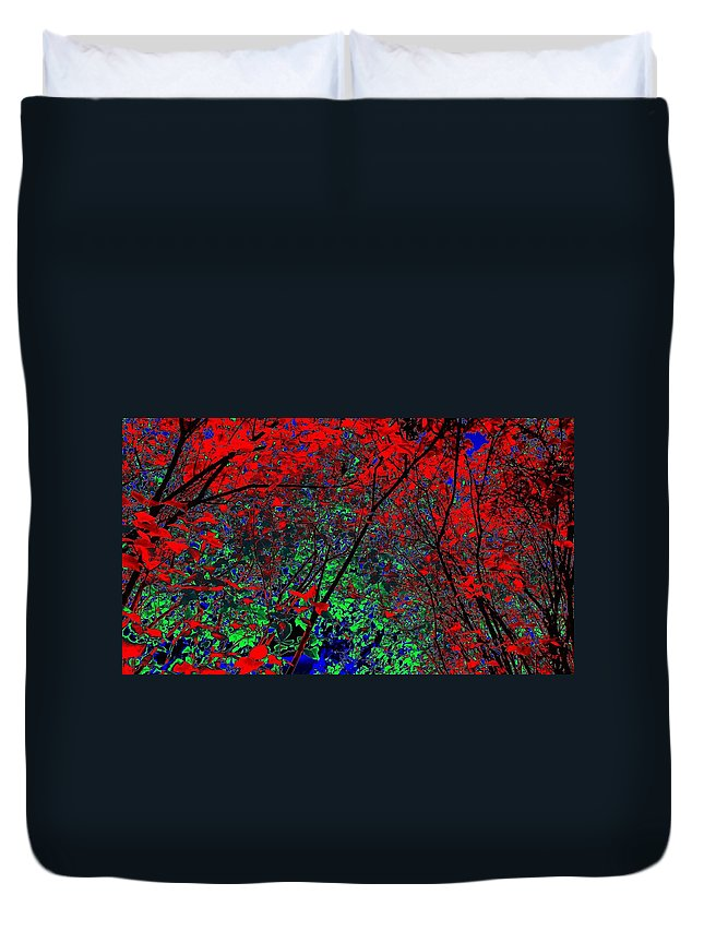Autumn Duvet Cover featuring the digital art Autumn Red by Will Borden