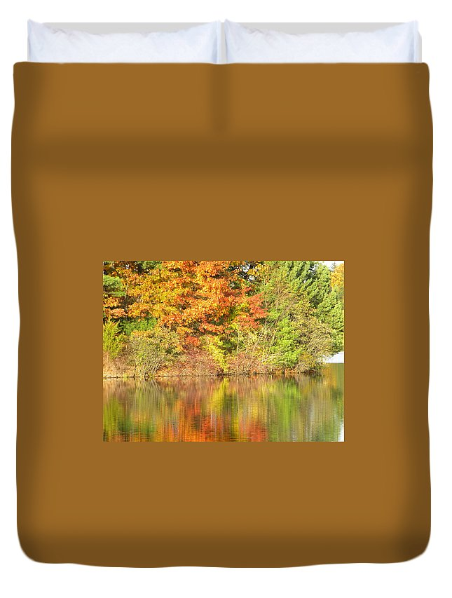Landscape Duvet Cover featuring the photograph Autumn Reflection by Joan Gal-Peck