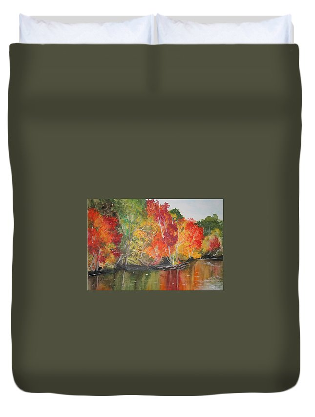 Autumn Duvet Cover featuring the painting Autumn Splendor by Jean Blackmer