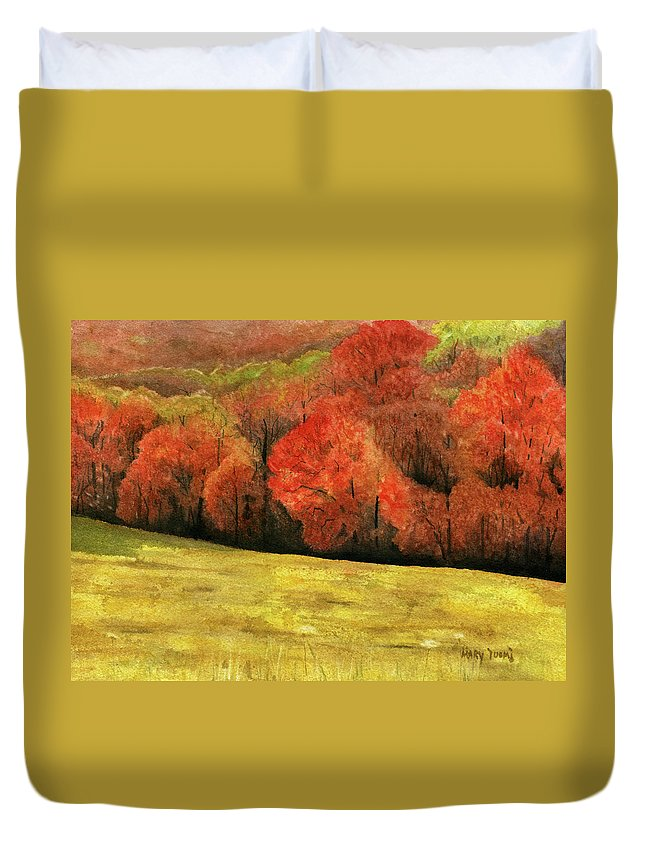 Autumn Duvet Cover featuring the painting Autumn Splendor by Mary Tuomi