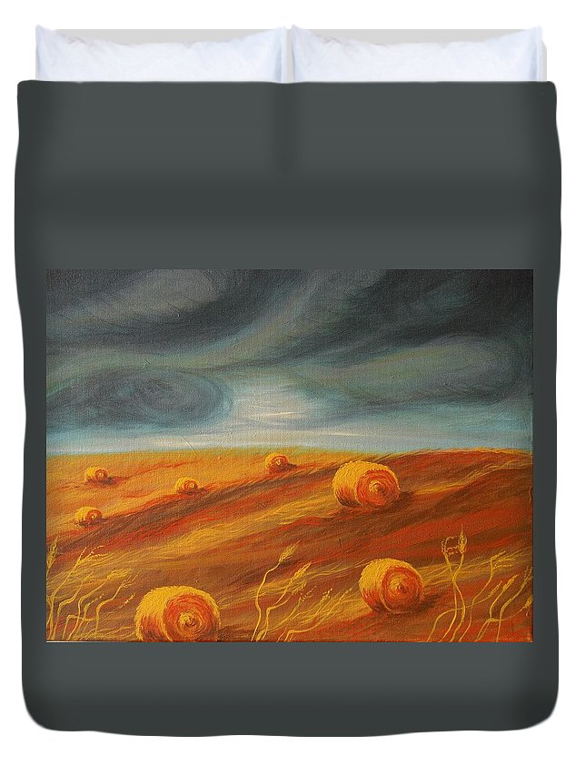 Landscape Duvet Cover featuring the painting Autumn Storm by Jana Caissie