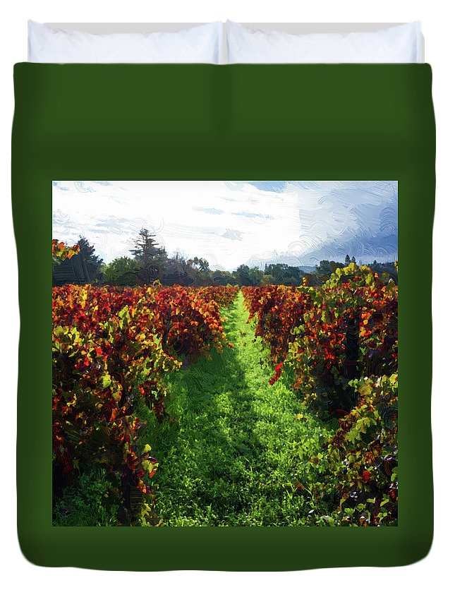 America Duvet Cover featuring the photograph Autumn Vineyard In The Morning by Charles Wollertz