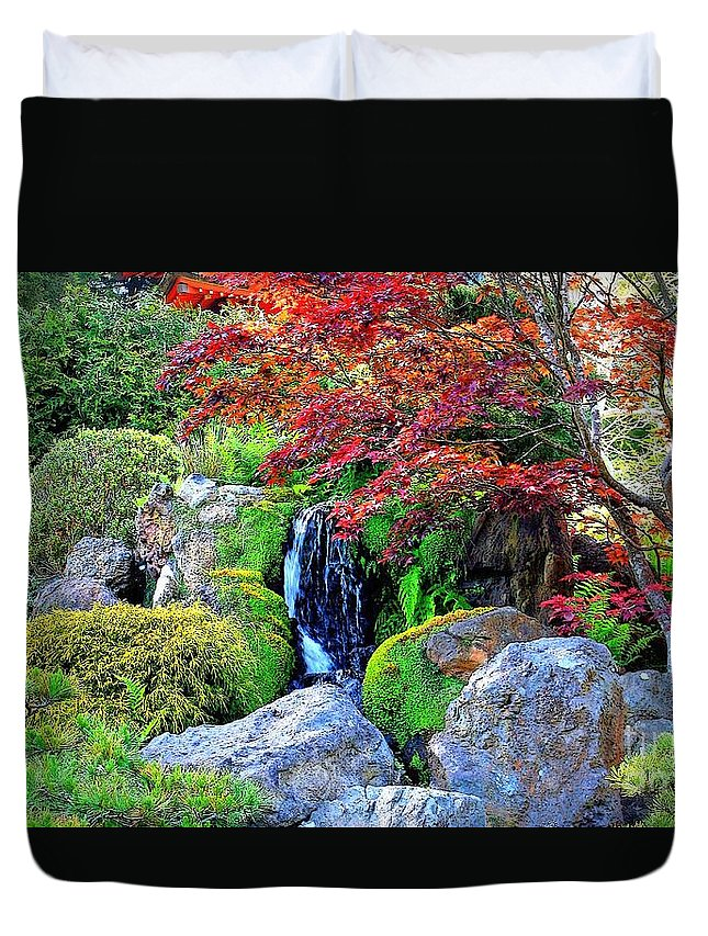 Autumn Waterfall Duvet Cover featuring the photograph Autumn Waterfall - Digital Art 5x3 by Carol Groenen