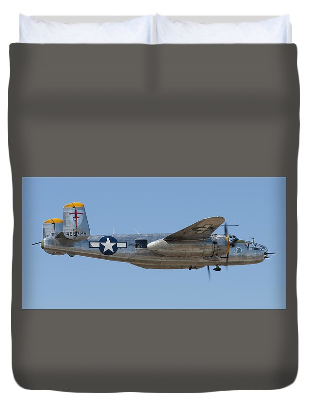 Bomber Duvet Cover featuring the photograph B-25 by Jerry Schiller