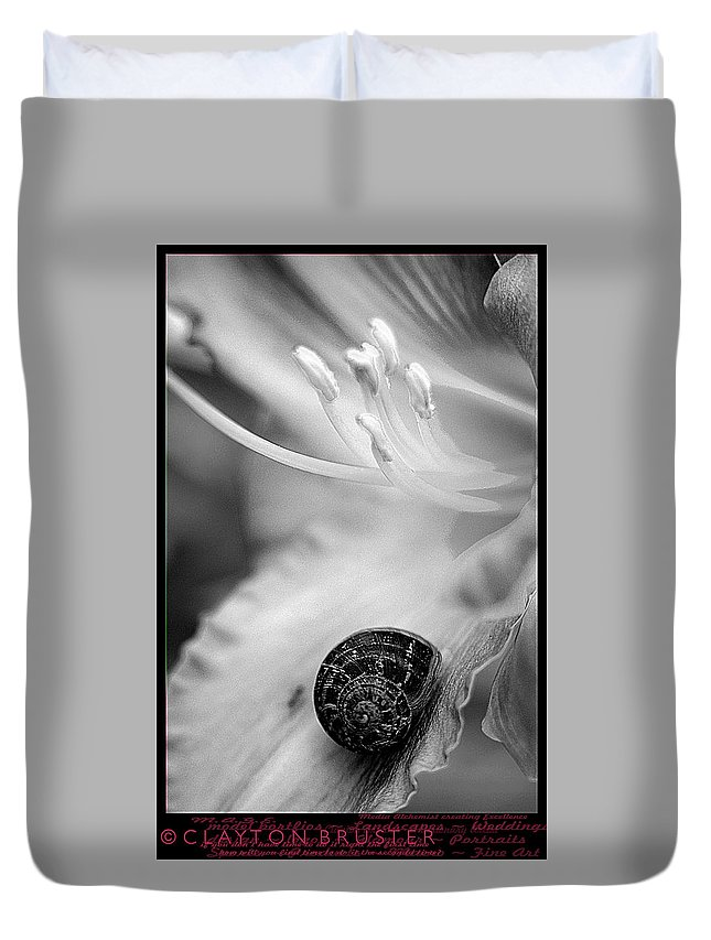 Clay Duvet Cover featuring the photograph B And White Floral With Snail by Clayton Bruster