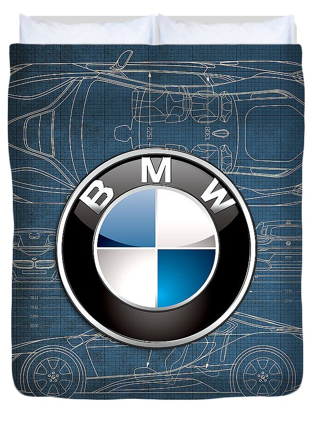 �wheels Of Fortune� By Serge Averbukh Duvet Cover featuring the photograph B M W 3 D Badge over B M W i8 Blueprint by Serge Averbukh