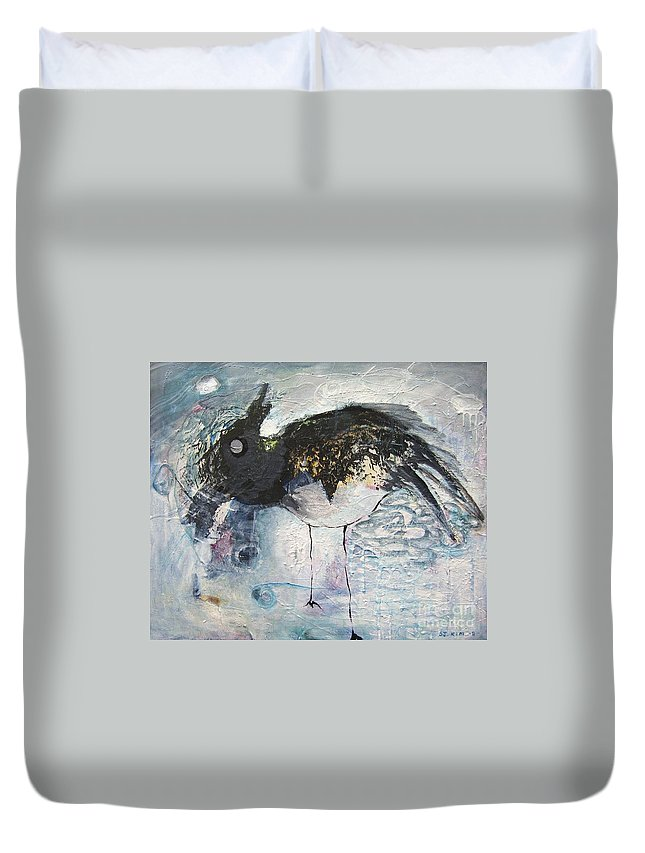 Robin Painting Duvet Cover featuring the painting Baby Robin by Seon-Jeong Kim