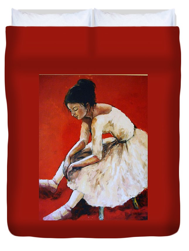Ballerina Duvet Cover featuring the painting Back Stage by Janet Lavida