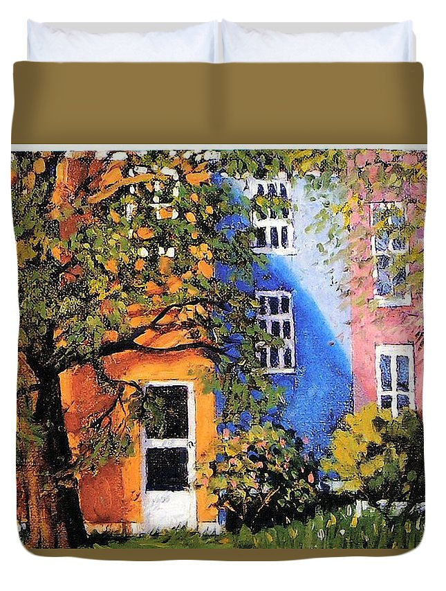 Scenic Duvet Cover featuring the painting Backyard by Jonathan Carter