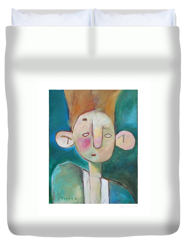 Funny Duvet Cover featuring the painting Bad Hair Life by Tim Nyberg