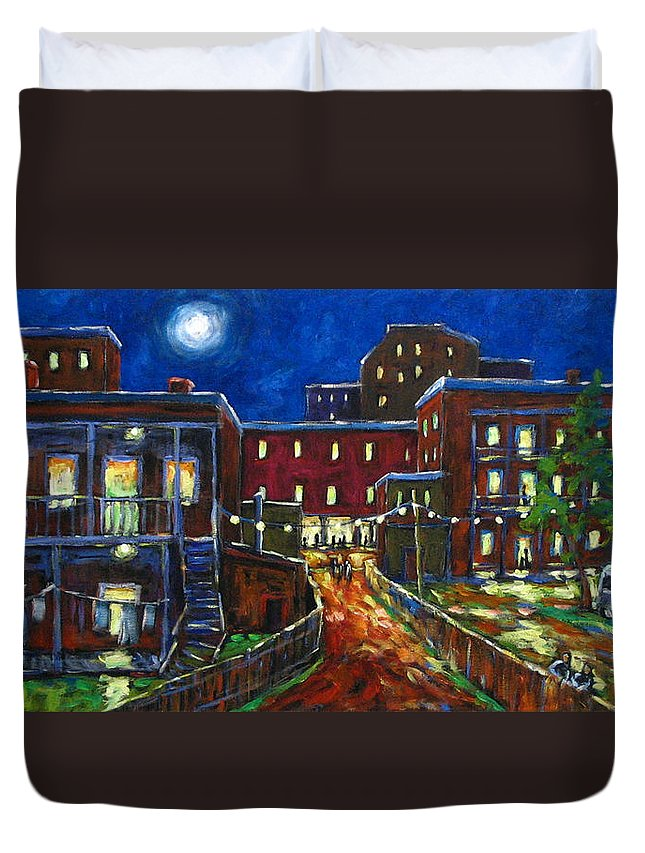 Town Duvet Cover featuring the painting Balconville by Richard T Pranke