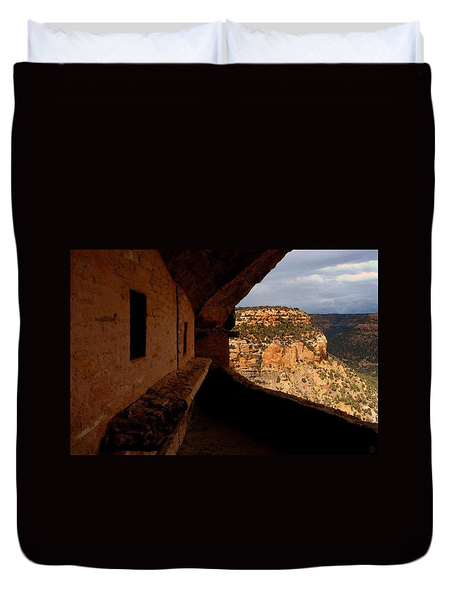Art Duvet Cover featuring the painting Balcony House by David Lee Thompson