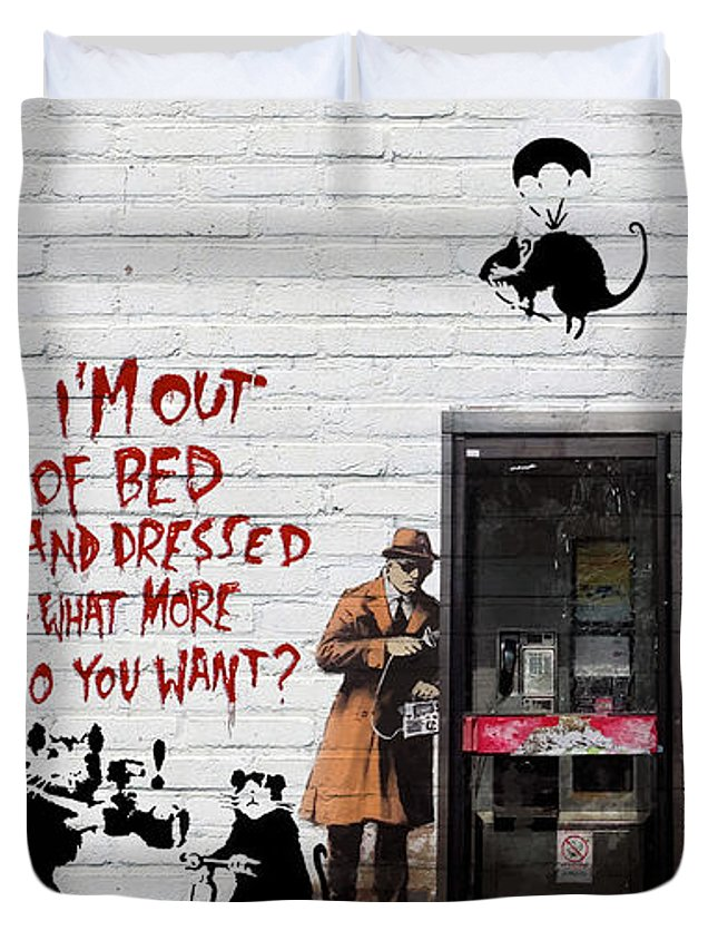 �urban Graffiti� Collection By Serge Averbukh Duvet Cover featuring the photograph Banksy - The Tribute - Rats by Serge Averbukh