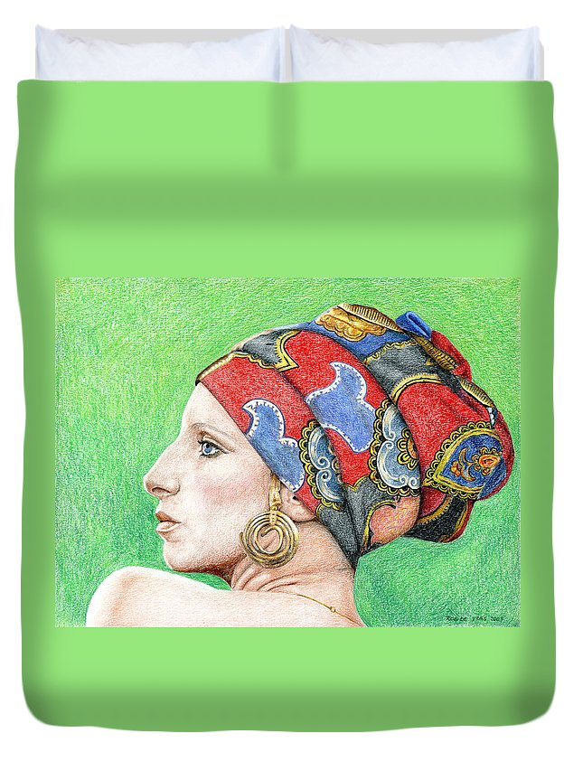 Singer Duvet Cover featuring the drawing Barbra Streisand by Rob De Vries
