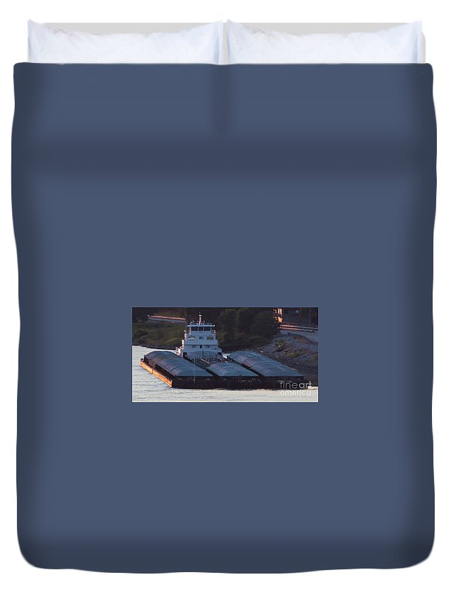 Barges Duvet Cover featuring the photograph Barge On Mississippi River by Brenda Gray