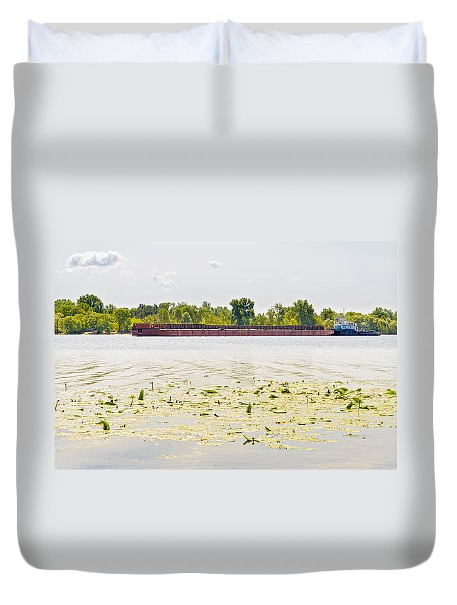 Dnieper Duvet Cover featuring the photograph Barge On The Dnieper River by Alain De Maximy