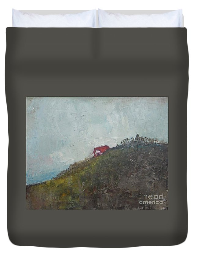 Barn Duvet Cover featuring the painting Barn On The Hill by Vesna Antic