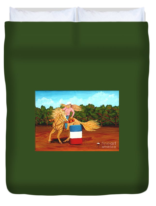 Rodeo Duvet Cover featuring the painting Barrel Racer by Anthony Dunphy