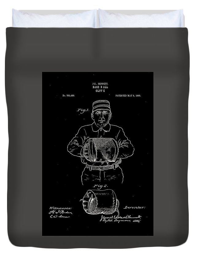 Baseball Duvet Cover featuring the digital art Baseball Glove Patent 1905 by Claire Doherty