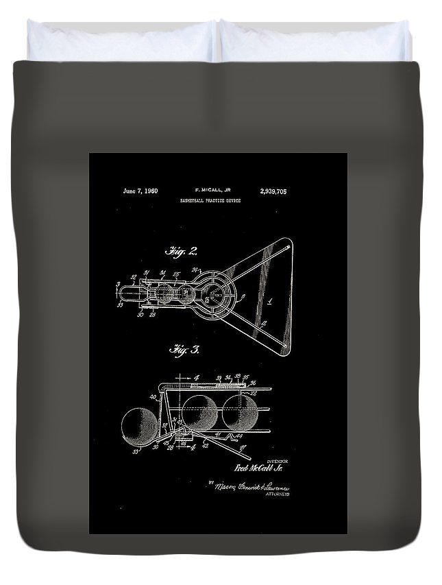 Basketball Duvet Cover featuring the digital art Basketball Practice Device Patent 1960 Part 2 by Claire Doherty