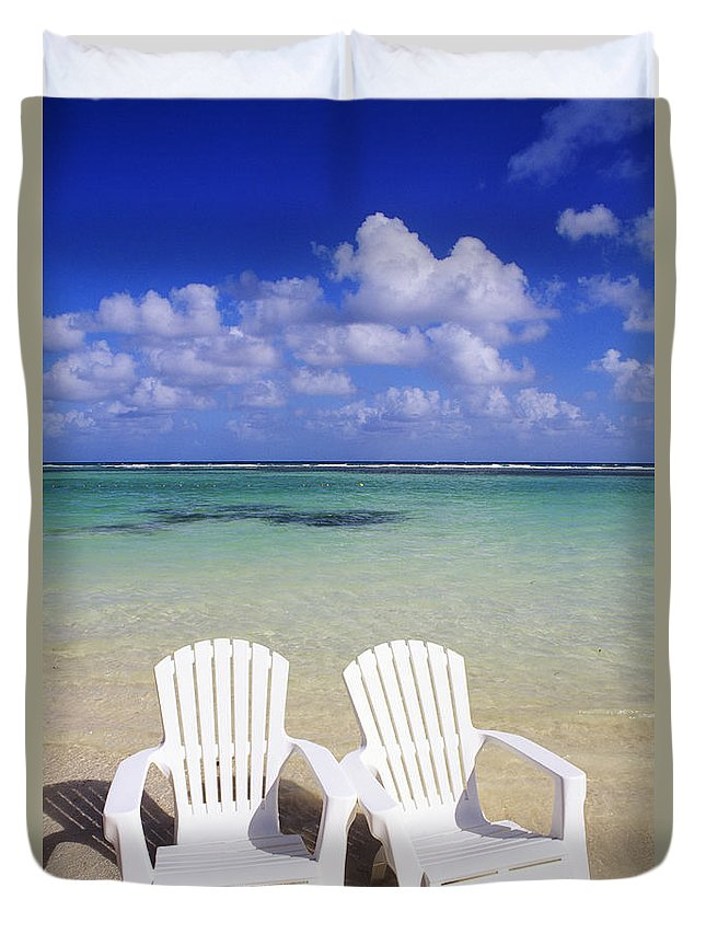 Ashore Duvet Cover featuring the photograph Beach Chairs by Bill Bachmann - Printscapes