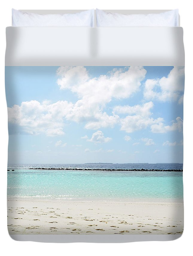 Island Duvet Cover featuring the photograph Beach On An Island In The Maldives With Turquoise Water by Oana Unciuleanu