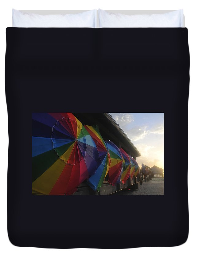 Beach Duvet Cover featuring the photograph Beach Umbrella Row by David Lee Thompson