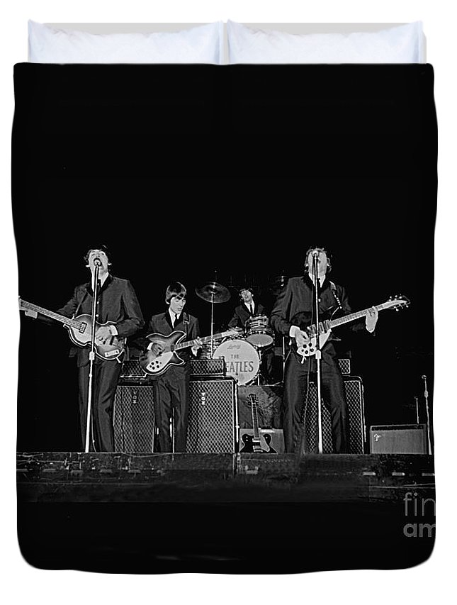 Beatles Duvet Cover featuring the photograph Beatles in Concert, 1964 by Larry Mulvehill