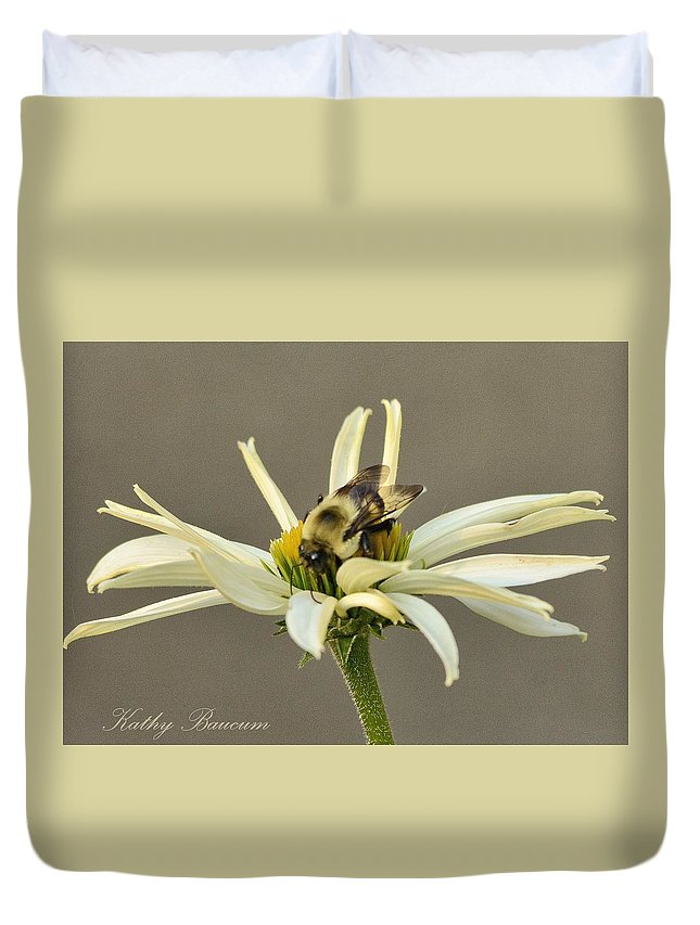 Bee Coneflower White Nature Duvet Cover featuring the photograph Bee On Coneflower 2 by Kathy Baucum