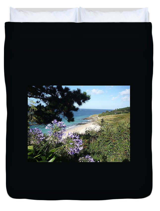 Coast Brittany Flowers Sea Ocean Bay Pines France Duvet Cover featuring the photograph Bel-ile-en-mer by Lizzy Forrester