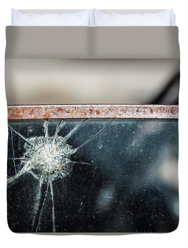 Nevada Duvet Cover featuring the photograph Belmont Broken Truck Window 1571 by Bob Neiman