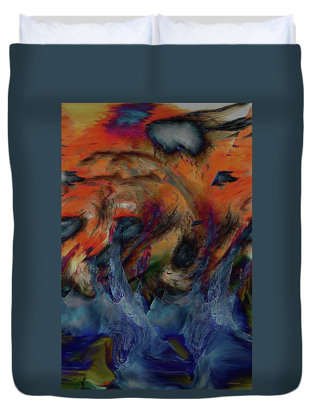 Wave Art Duvet Cover featuring the digital art Beneath The Waves by Linda Sannuti